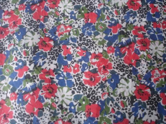 Tissu Lucy Locket bleu et rouge