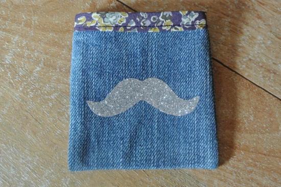 Etui Jeans Tatum violet moustache argent
