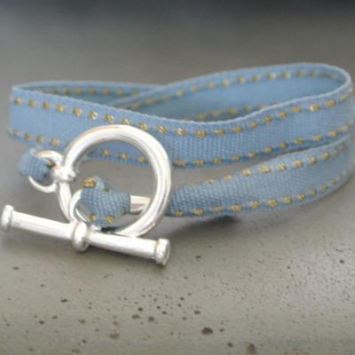 Bracelet ruban surpiqûre doré