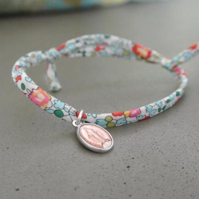 Médaille de Miraculeuse sur cordon Eloise bleu clair