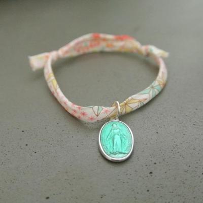 Médaille Miraculeuse vert d'eau sur cordon Adeladja