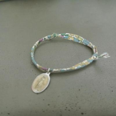Médaille de Miraculeuse sur cordon Betsy vert et bleu