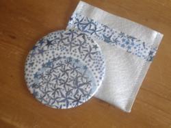 Miroir Adelajda bleu avec étui argenté