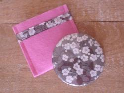 Miroir Mitsi taupe et rose avec étui rose