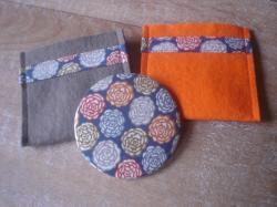 Miroir Stefen bleu et orange avec étui taupe ou orange (au choix)