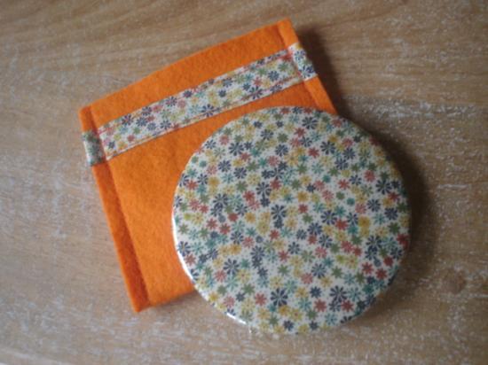 Miroir Rania vert et orange avec étui orange